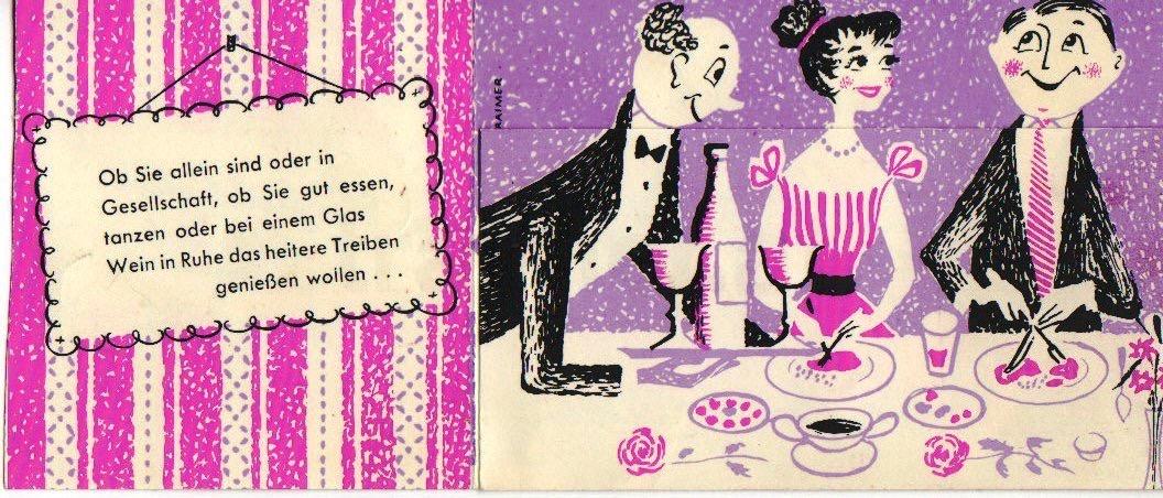 Ein fröhlicher Abend.  Werbung für das Hotel Erzherzog Rainer in Wien.