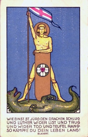 Postkarte: Wartburgfest 14.06.1925. (Heiliger Georg) Wer will ein Streiter Christi sein?