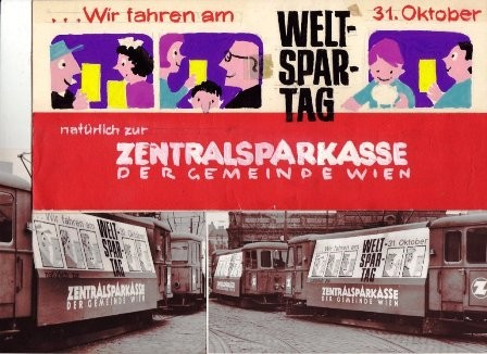 Vienna Tram in the 1950s. Advertising for the International Savings Day. Graphic by  Heinz Traimer (Vienna, Austria).