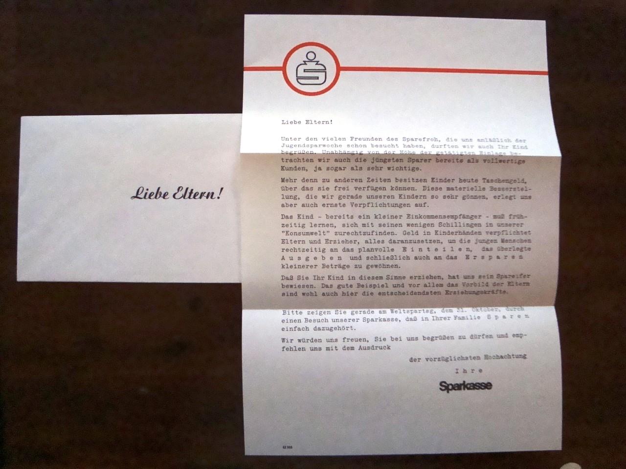 Elternbrief um 1960