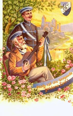 Postkarte. Alte Pauliner. Deutsche Studenten beim Singen. Bayern 1920er Jahre.