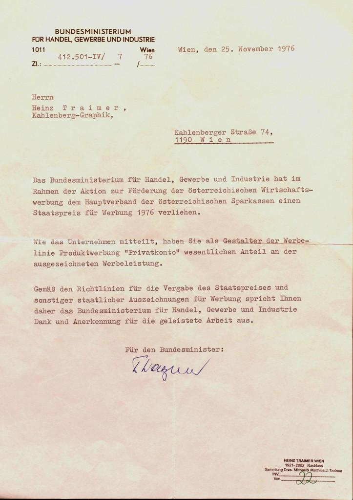 National prize for advertisement 1976 (winner Heinz Traimer - Sparkassenverband)