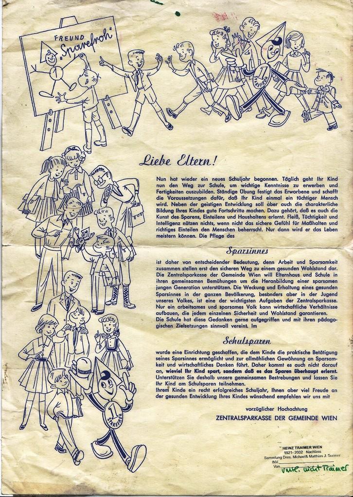 Schulbrief um 1960