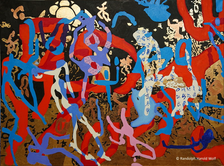 """Hieros Iconization III. """"A Fall of Prophets and Mysticism"""". 135 cm x 100 cm. Oil on canvas with copper and gold leaf."""