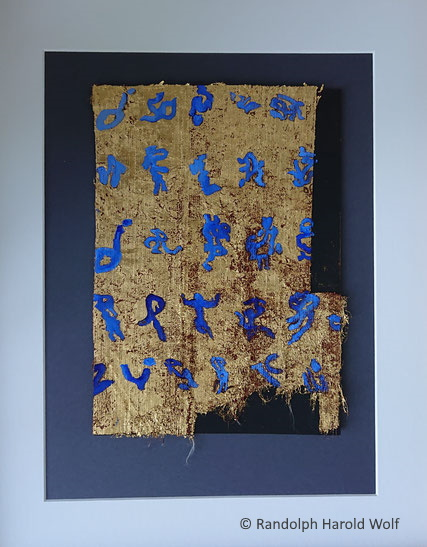 Composition on DIN A4 for the Galery Rotklee exhibition July/August 2021. Gold leaf (23.75 carat)  and a blue oil paint mixture on a scrap of tarp ca. 21 cm x 30 cm