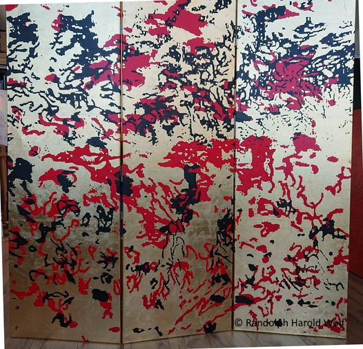 """""""Rorschach's Nightmare"""" is from March, 2021, 150 cm x 150 cm., oil paint and gold on canvas."""