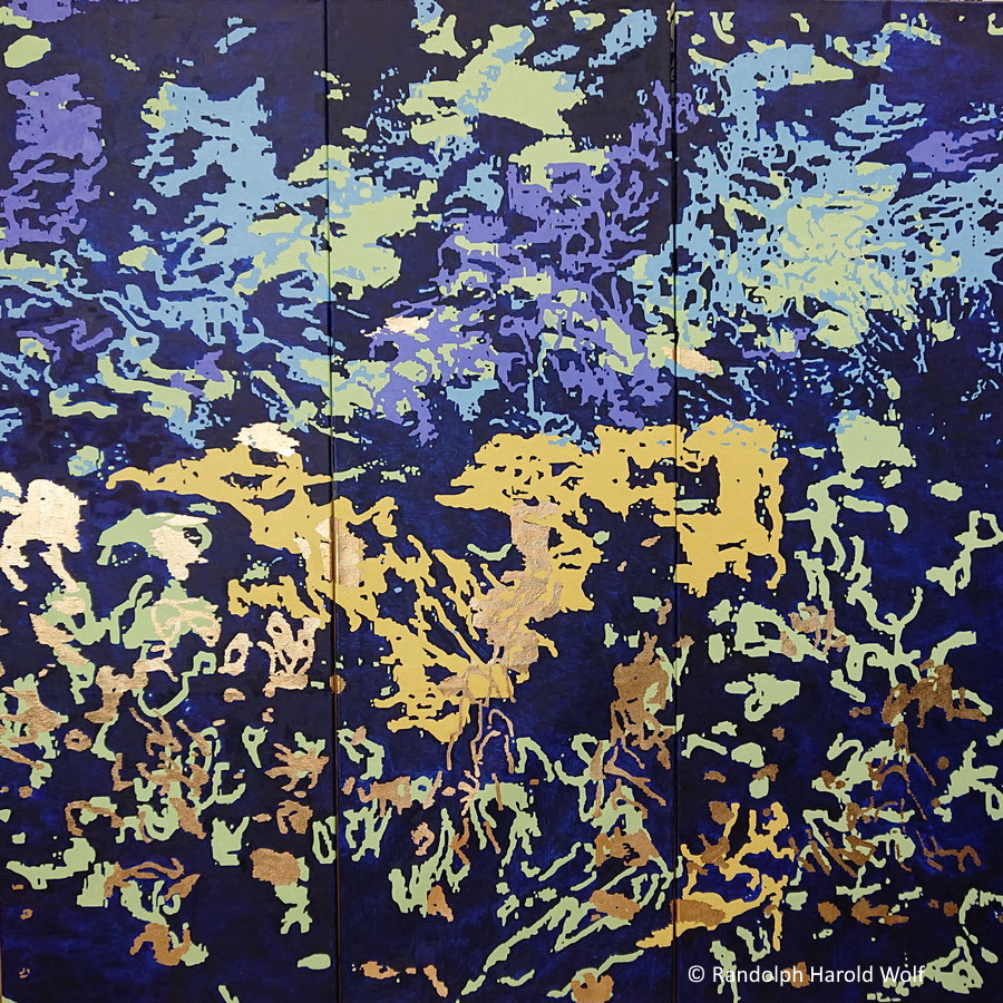 """""""Fantasia"""" (2021) measuring 150 cm x 150 cm with three canvases 50 cm x 150 cm in gold leaf and oil paint on canvas"""