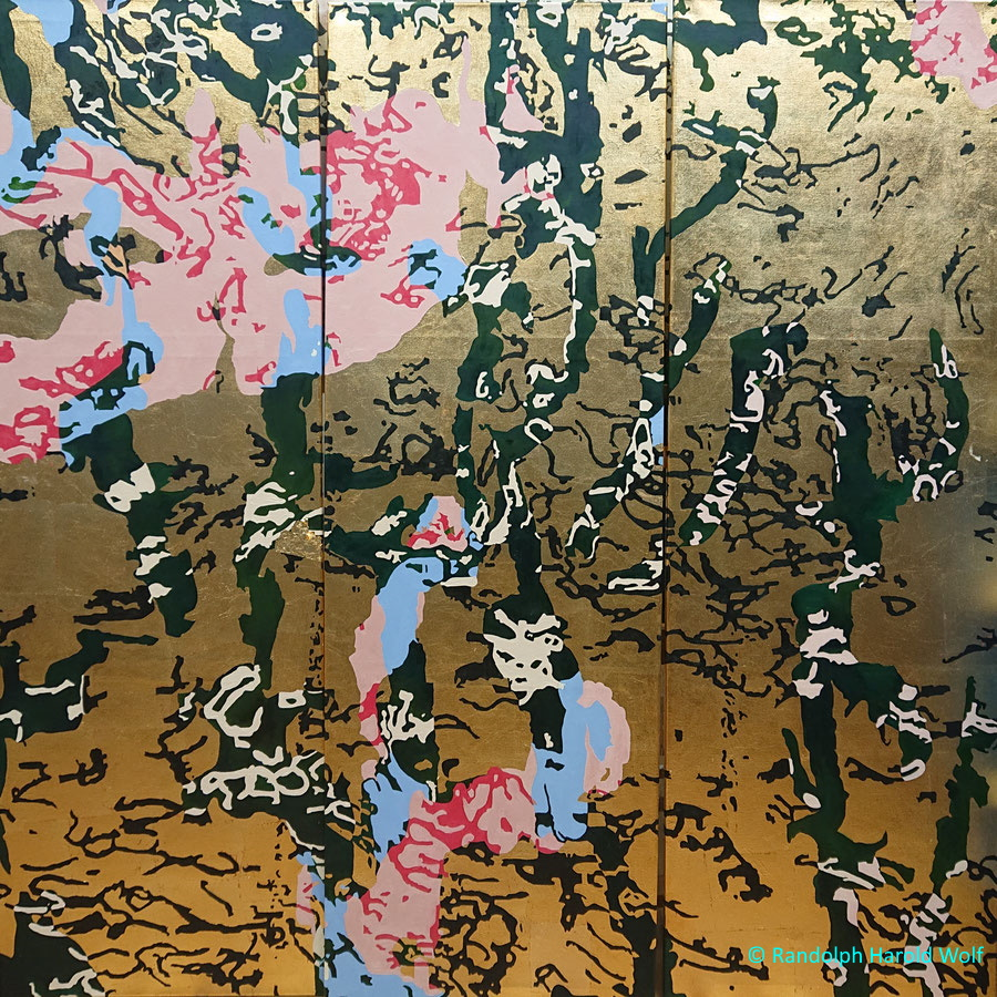 """""""Celebration"""" (2021) Folding-screen 150 cm x 150 cm (made of three canvases) with oil paint and gold leaf."""