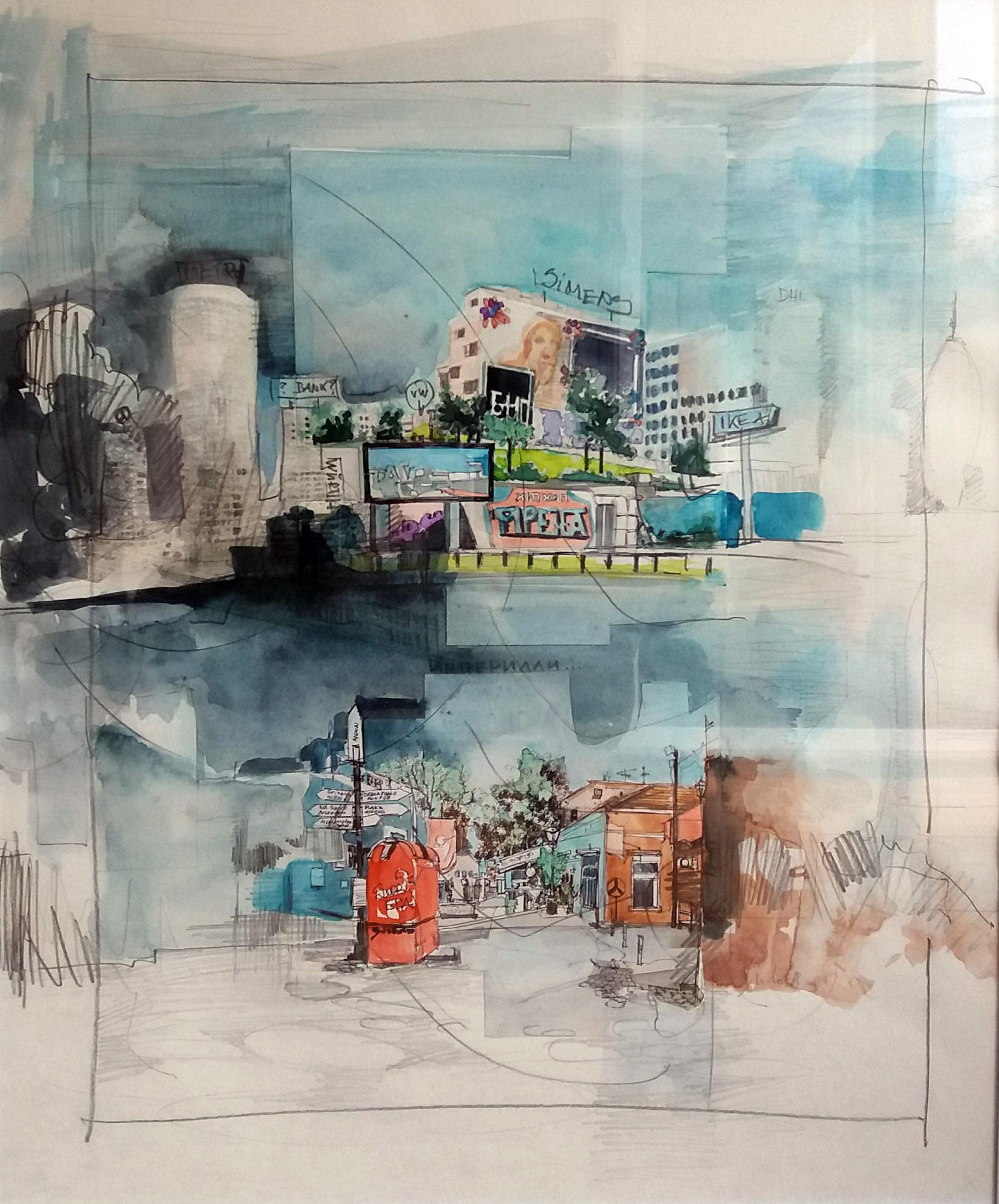 ohne Titel lV, Zeichnung, Mischtechnik auf Papier, 60 x 50