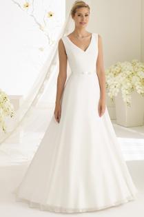 Brautkleid schlicht mit Trägern Bianco Evento Brautmoden Per Sempre