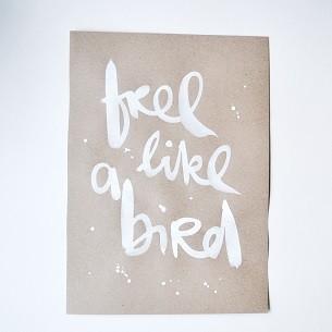 """Formart Unikat """"free a like bird"""" beige"""