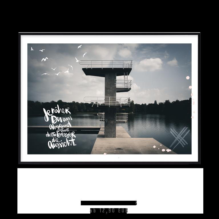 """Artprint """"je näher du am Abgrund stehst, desto besser die Aussicht"""" kaufen"""