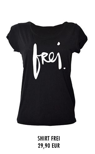 """T-Shirt mit """"frei"""" Schriftzug"""