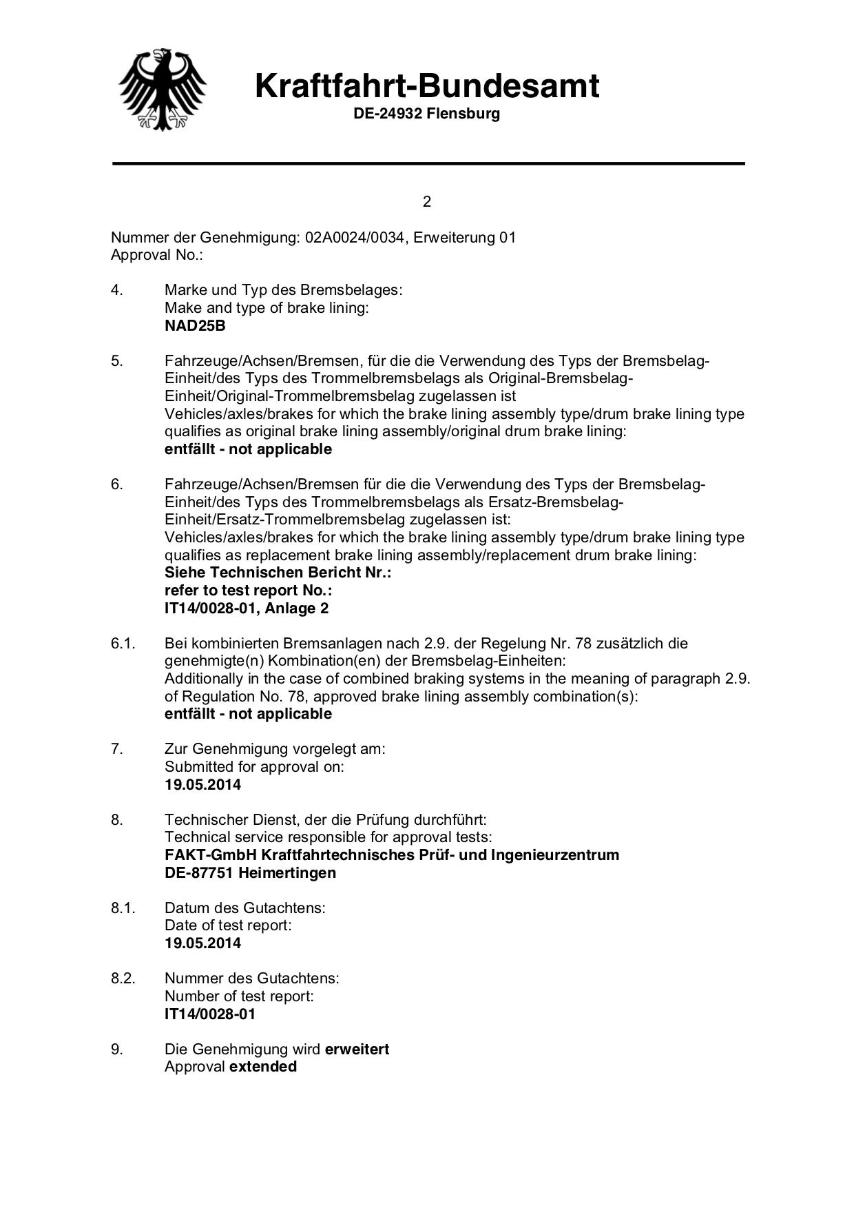 ECE R90 E1 Certificate Page 2