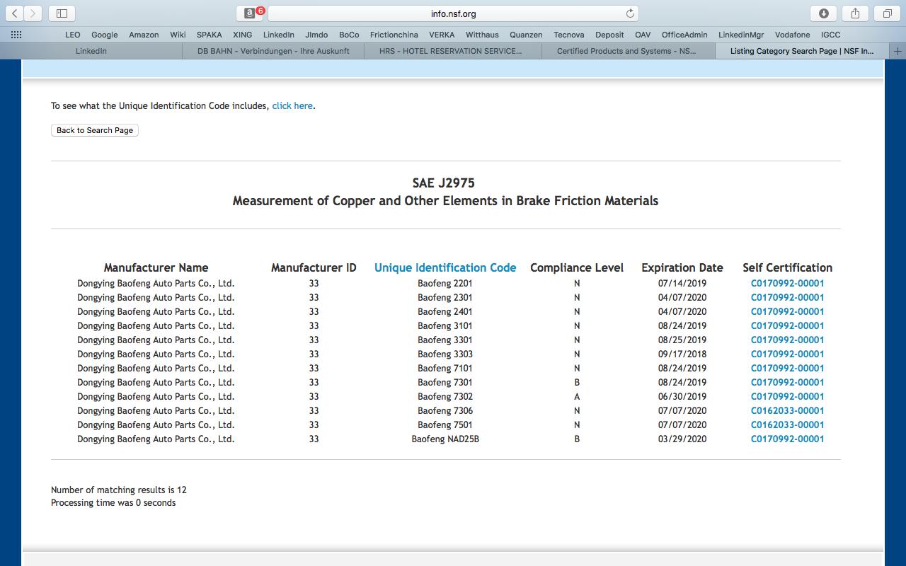 NSF SAE J2975 Listing