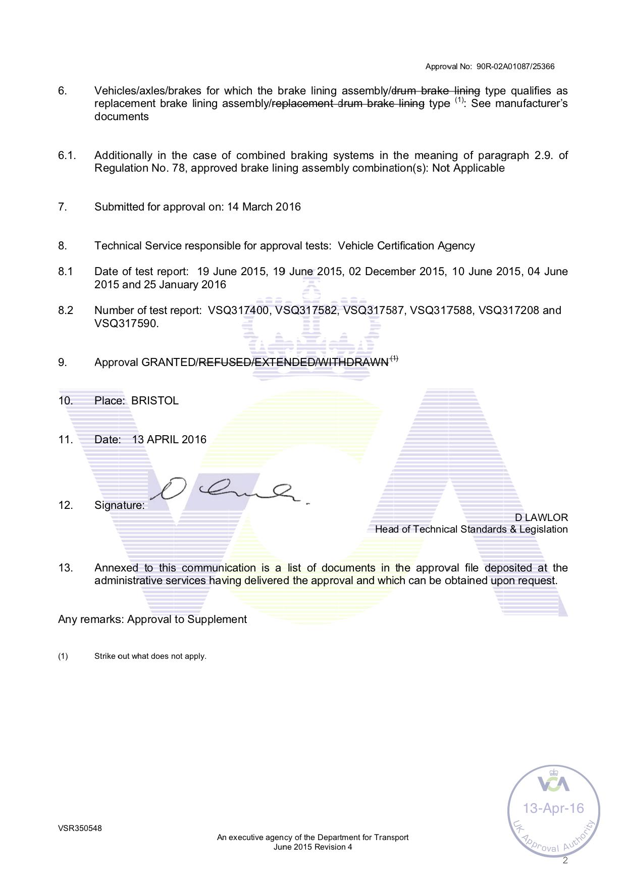 ECE R90 E11 Certificate Page 2