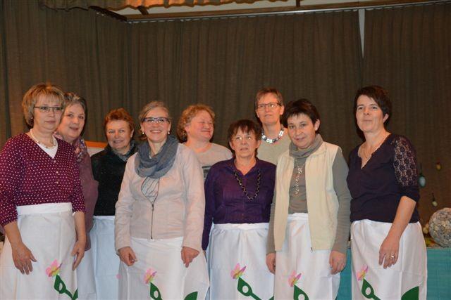 Vorstand an der Jubiläumshauptversammlung, v.l.n.r Veronika Rothenbühler, Eva Holzer, Sonja Hodel, Barbara Schenk, Vreni Hofer, Heidi Steiner, Anni Jutzi, Margrit Burger, Mariann Zaugg