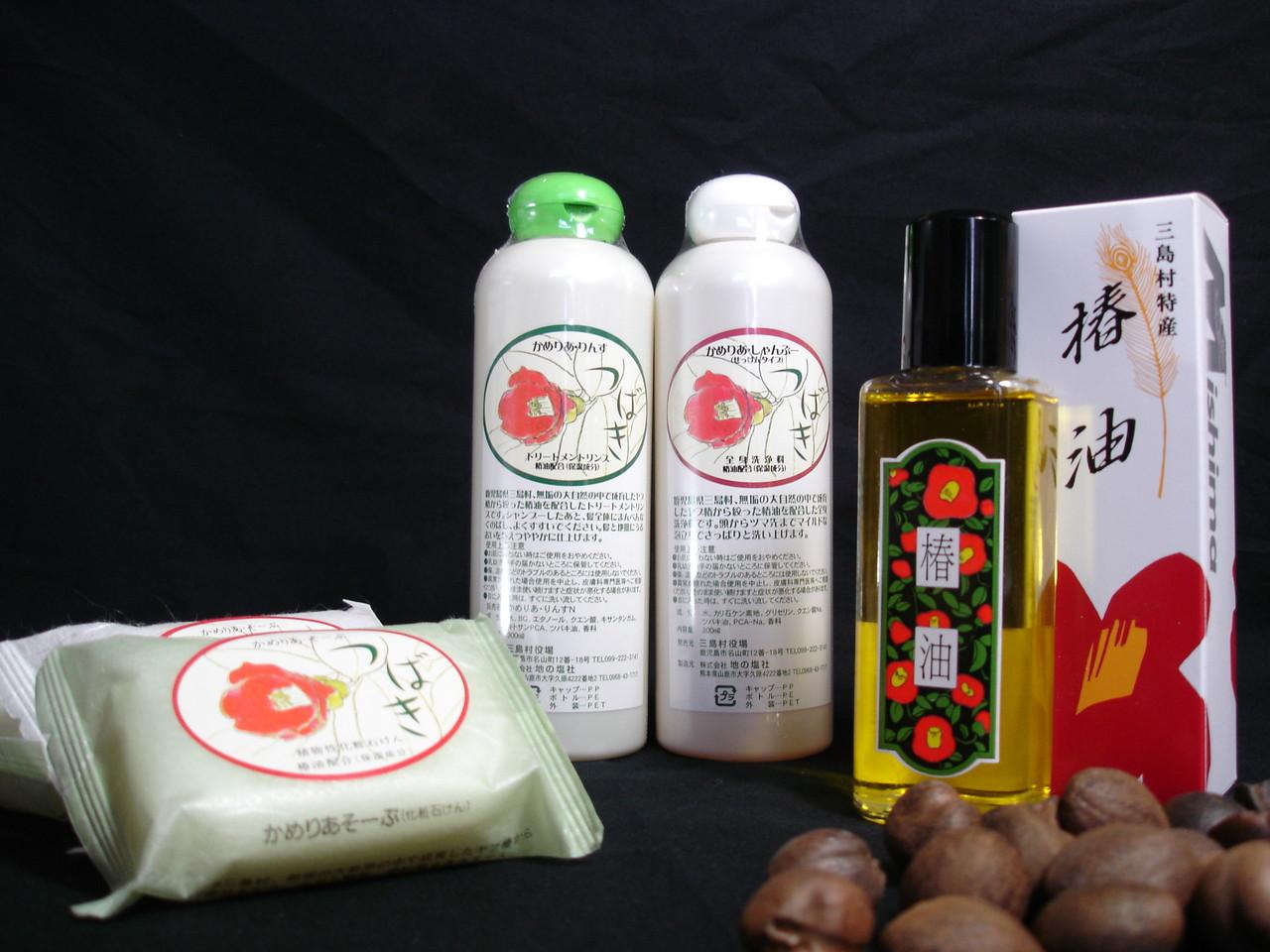 島の椿油を使った商品です。