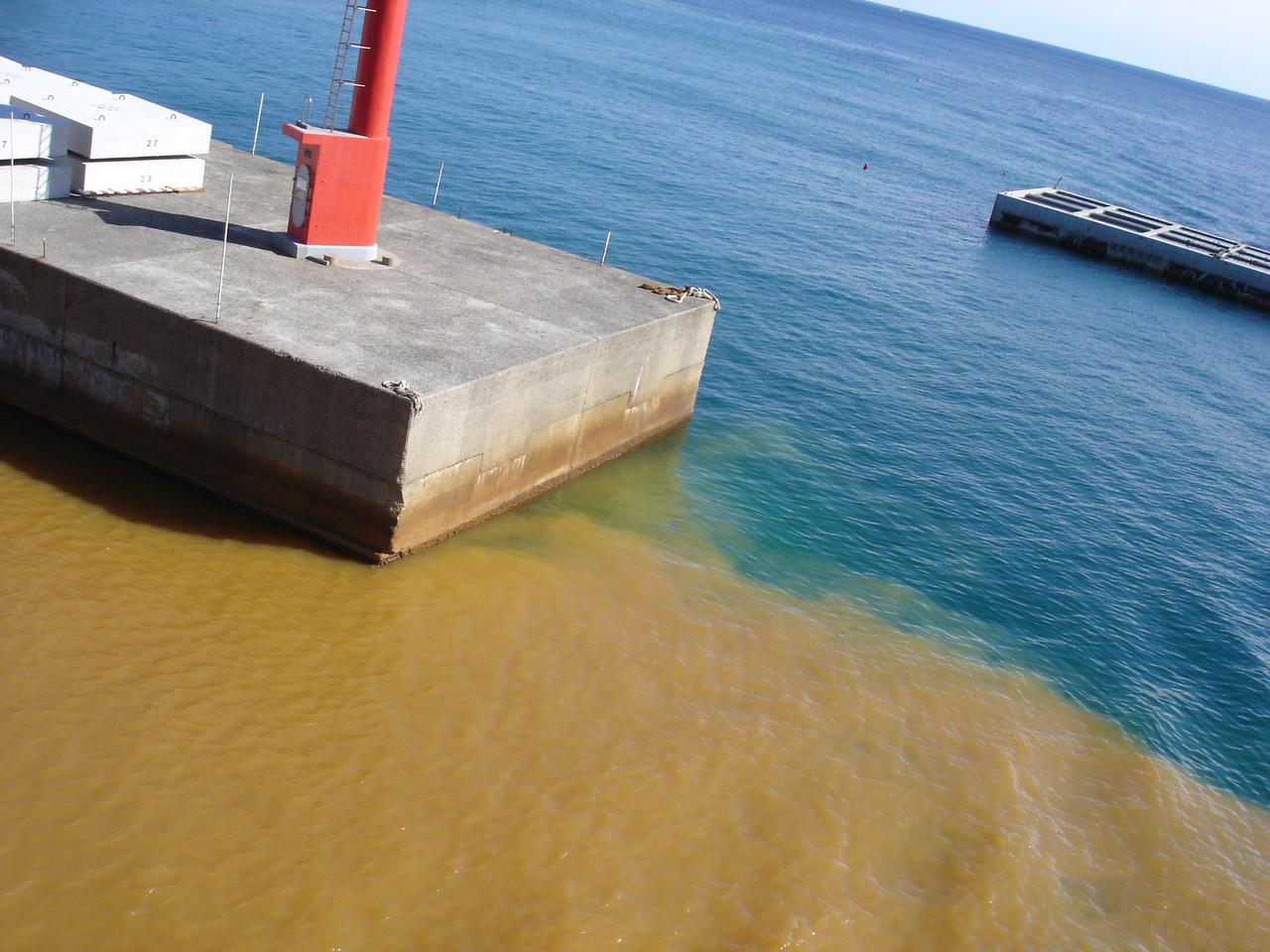 港はオレンジ色