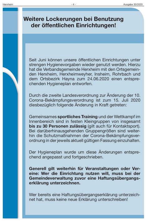 Quelle: Mitteilungsblatt der VG Herxheim, Nr. 30/2020