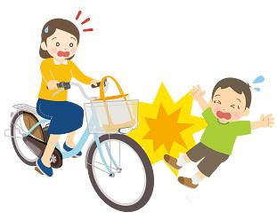 自転車走行中に子供とぶつかるイメージイラスト