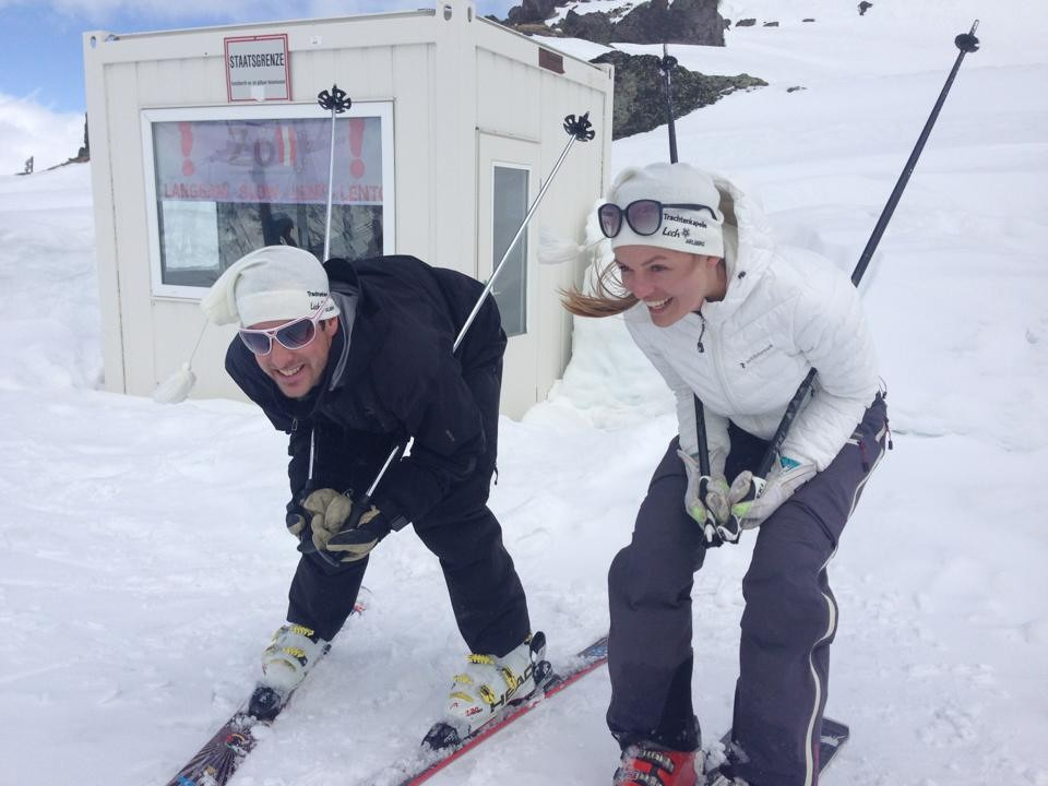 April 2013. Marc und Conny in Ischgl, Schweizer Grenze