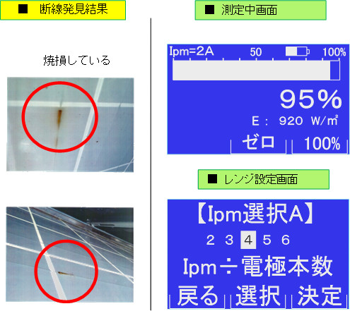 断線発見結果と測定中画面