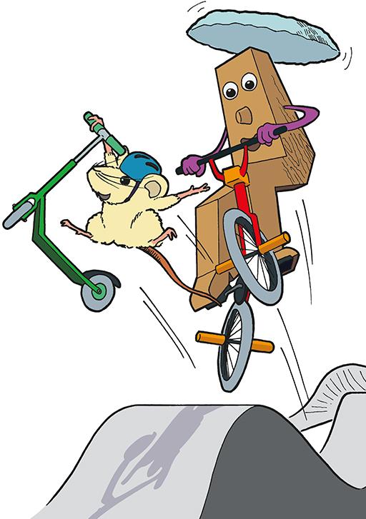 Mascottes; Thyon 2000; Les Collons; Thyon-Les Collons; Cartoon; Comic; Dessin; Tobias Willa; Illustration; Station; Pump Track; Trotinette; BMX; Fun; Sport; Activité; Tourisme; Raccard et Raclette; Pierre à souris; Jump; Saut; Ludique; Roller;