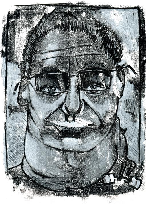 Monotypie; Tobias Willa; Druck; Impression; Unikat; Original; Papier; Linoldruck; Linogravure; Encre; Gouache; Craie; Portrait; Porträt; Monster; Monster; Tom; Tirabosco; Cartoonmuseum; Basel; Lunettes; Brillen; Sombre; Düster; Blick; Regard; Augen; Yeux;