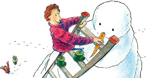 Schneemann; Karotte; Rübli; Rüebli; Carotte; Leiter; Echelle; Neige; Schnee; Bonhomme de neige; Hiver; Winter; Kalt; Weihnachten; Kinder; Lustig; Humor; Karte; Greeting; Card; Snowman; Frostie; Tobias Willa; Illustration; Drawing; Snow; Zeichnung; Shop;