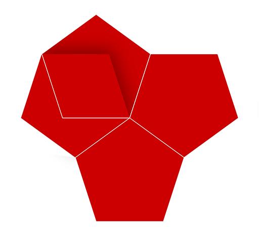 Symmetrie; platonische Körper; Geometrie; Euklid; Fünfeck; Dodekaeder; Grafik; Logo; Design; Tobias Willa; Basel; Illustration; Rot; Platon; Timaios; Antike; Formen; Symmetry; Line; Linie; Schatten; Vektor; Mathematik;