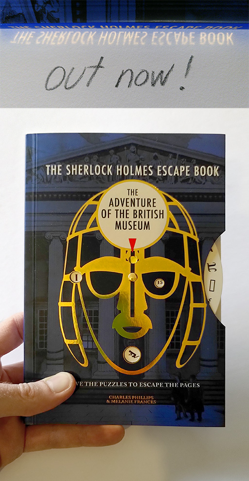 The Sherlock Holmes Escape Book: The Adventure of the British Museum; Ammonite Press; Tobias Willa; Illustration; Mystery; Gift; Buch; Rätsel; Riddle; Puzzle; Egypt; Pharaoh; Hieroglyphics; Series; Code Wheel; Out now; New; Watson; Basel; London; Lewes;