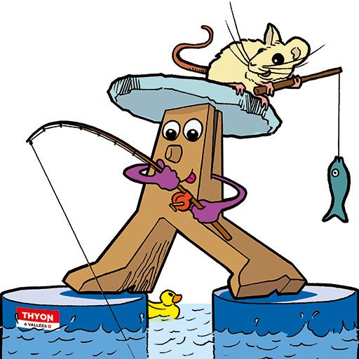Thyon; Les Collons; Tourisme; Tourismus; Mascotte; Maskottchen; Raccard et Raclette; Raccard & Raclette; Souris; Mayen; Pierre à souris; Pêche; Glace; Poisson; Banquise; Fischen; Eis; Maus; Bois; Tobias Willa; Illustration; Humour; Dessin; Drole; Canne