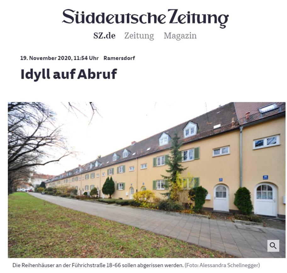 Artikel über das Bauvorhaben des gemeinnützigen Wohnungsverein München 1899 e.V. in der SZ am 19.11.20