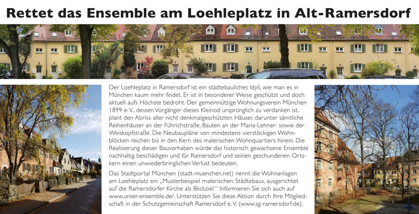 Postkartenaktion der Schutzgemeinschaft Ramersdorf e. V. gestartet: Rettet das Ensemble am Loehleplatz in Alt-Ramersdorf