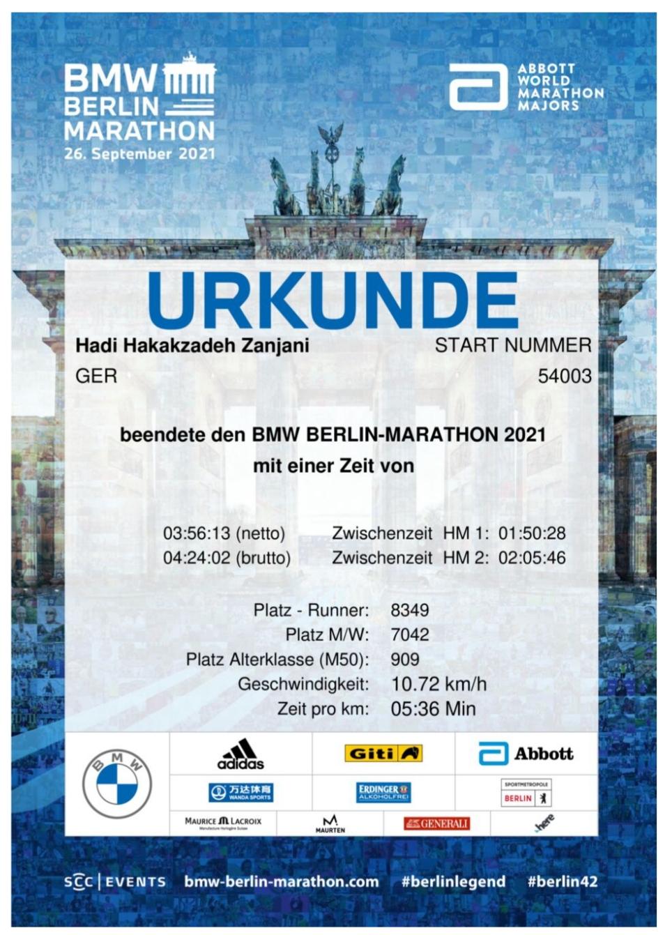 Berlin Marathon 2021 finished
