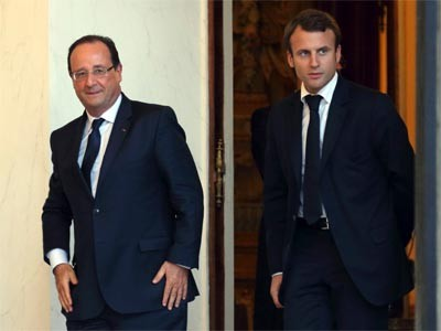 Hollande y Macron en el Palacio del Elíseo