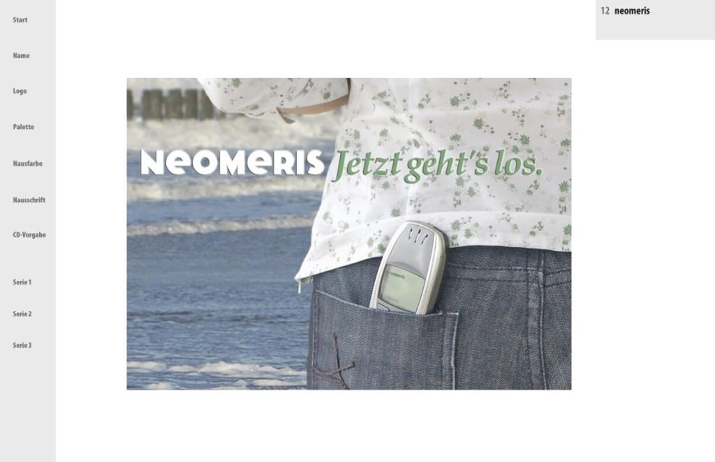 """Präsentation """"neomeris"""" - CI: Einsatz der Hausfarbe 2"""