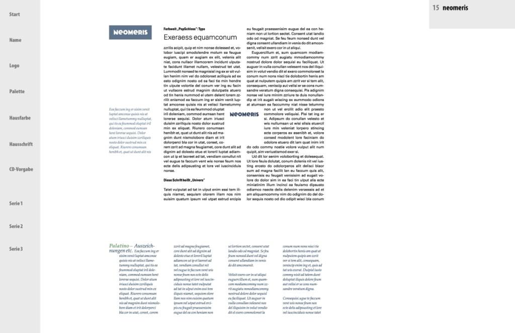 """Präsentation """"neomeris"""" - CI: Die Typo im Einsatz 1"""