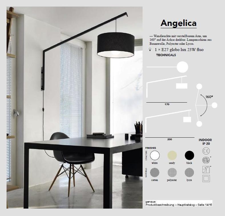 ANGELICA - Pendelleuchte (Wandarm) mti verstellbarem Wandarmum 160° auf der Achse drehbar, Lapenschirm aus Baumwolle, Plyester oder Lycra,