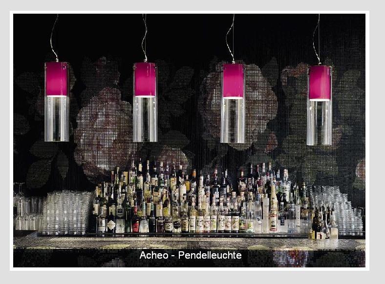 ModoLuce- Pendelleuchte Acheo, drei verschiedene Längen , 50 cm,100cm, 150cm, Aussen in PMMA-transparent, Innen in PC opal ode PMMA farbig.