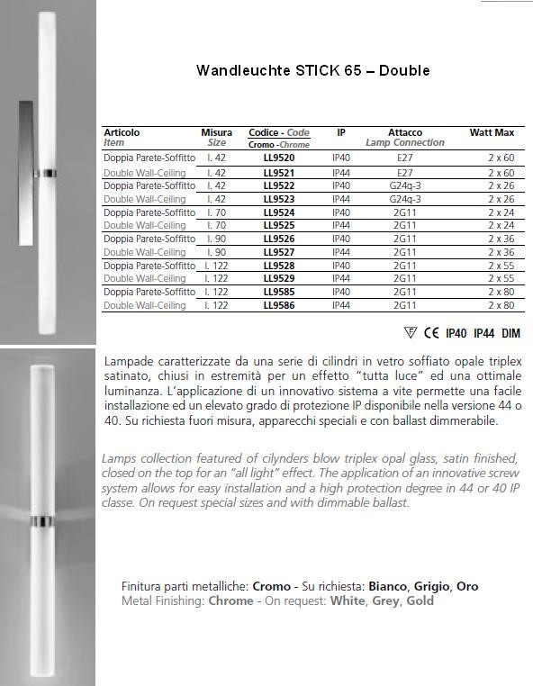 Wandleuchte Stick 65 double - alle Versionen
