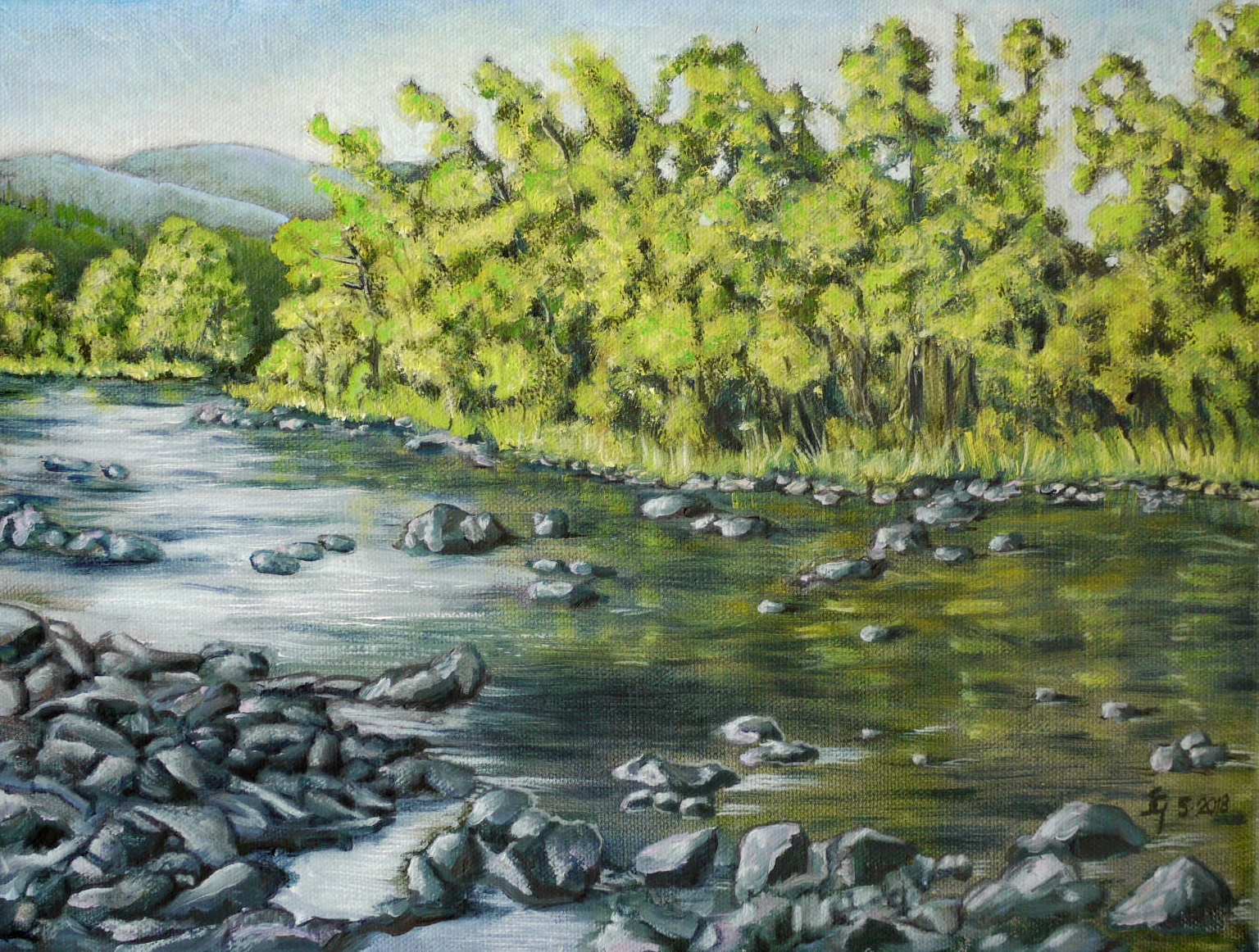 "#465 - ""Granby @ Riverside"" oil on canvas 9x12, 5/18"