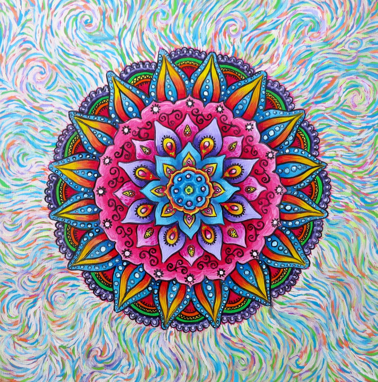 ... in progress, copied the mandala in oils...