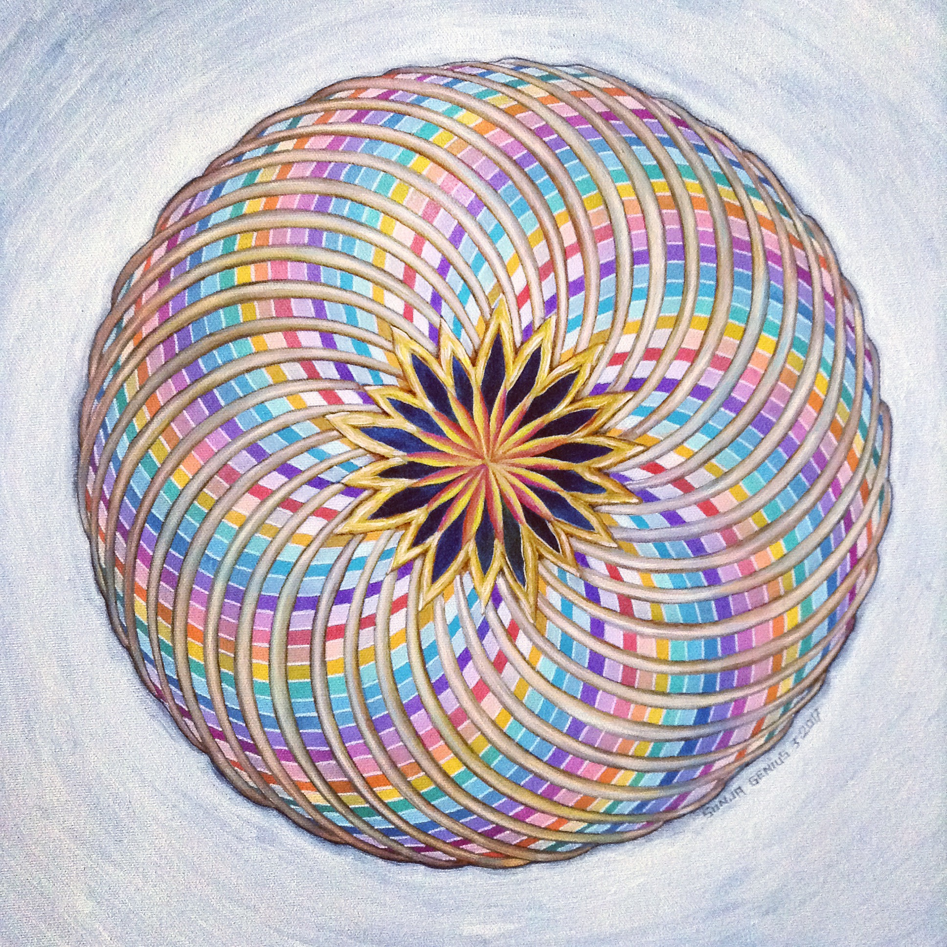 Rainbow Torus, oil on canvas 16x16, March 2017 (4)