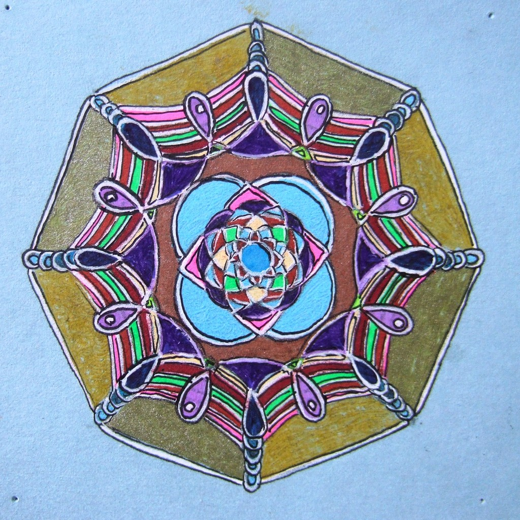 "Spiro 1 - this is my first doodle done using my Super Spirograph, it's about 2"" dia."