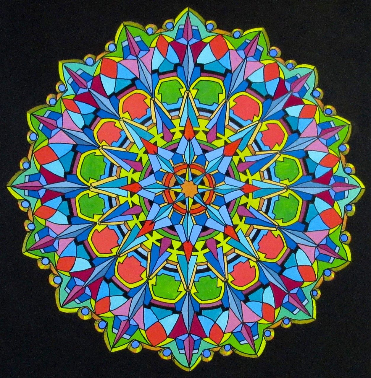 "Mandala design by Lester Kubistal, goauche and ink on cardstock 7"" dia., July 2015"