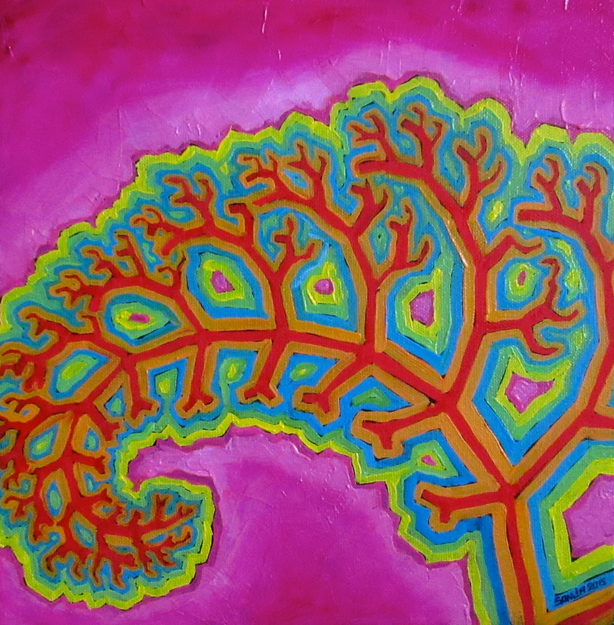 """Fractal Curl"", oil on canvas 10x10, Feb.2016 - (1/2)"