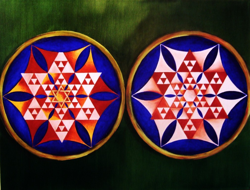 """Opposites 1"", oil on canvas, 18x24, Jan.2012 - Inspired by Michael Coleman's 'Sierpinski and FOL Variation 3'"