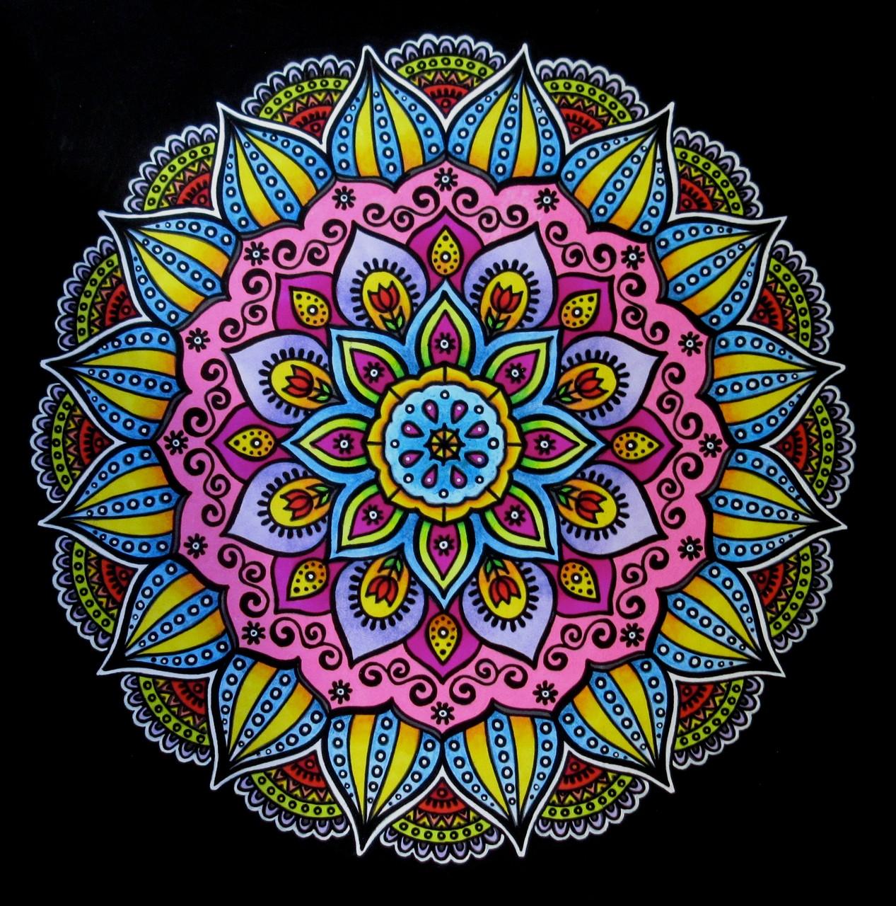 "Mandala design from ""Dynamic Mandala Patterns"", markers, gel pens & pencils on paper, Feb.2016"